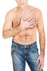 Shirtless man with chest pain