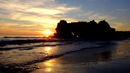 Sunset at Praia da Rocha in Portugal