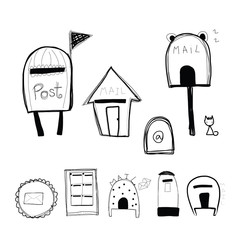 doodle style mailbox and post box