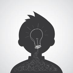 creative man bulb light idea cartoon