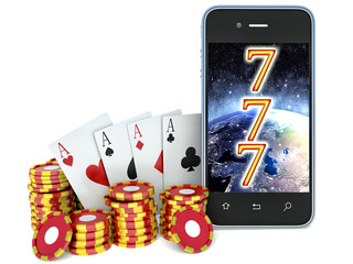 Online casino. phone and chips on a white background