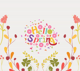 hello spring Hand Drawn Floral Frame Background