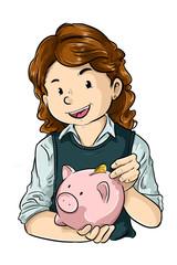 Niña ahorrando monedas en alcancia