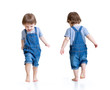 Happy little boy running. Front and rear view.
