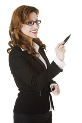 Businesswoman writing with pen on abstract screen.