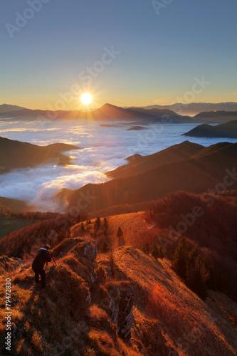 Mountain sunset autumn landscape in Slovakia - 79472830