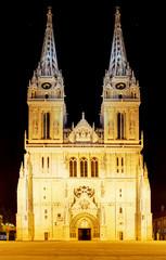 Zagreb Cathedral at night, Croatia.