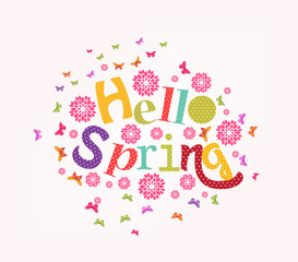 lettering Hello spring with decorative flower element