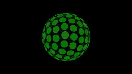 Abstract sphere of circles dance animation