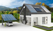 Leinwandbild Motiv Energieversorung am Einfamilienhaus