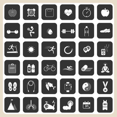health and fitness icons set for web design