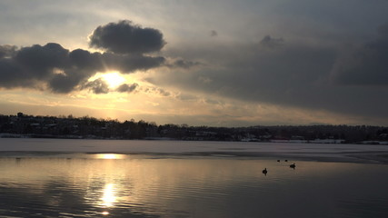 (timelapse) Sunset over Icey Lake
