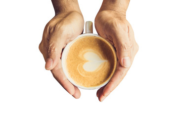 Man holding hot cup of coffee and heart shape with clipping path