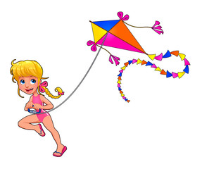 Happy girl is playing with kite