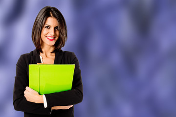 smiling professional woman on purple background