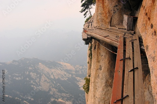 Dangerous walkway at top of holy Mount Hua Shan, China - 79477487