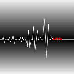 Cardiogram heart and the beginning of love.