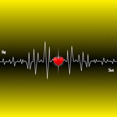Cardiogram heart akohanyh two people. Vector.