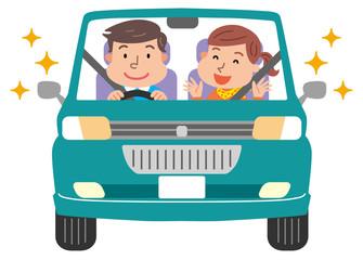 男女 車 ドライブ シートベルト
