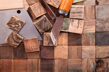 Manufacture of wood antique tiles