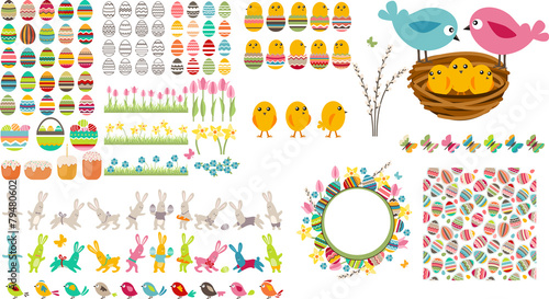 Big easter collection with eggs,birds and rabbits - 79480602