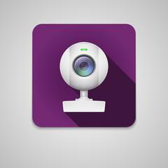 Webcam of white plastic.