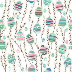 Seamless pattern with willow and painted eggs