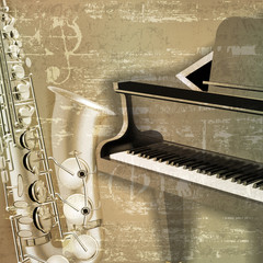 abstract grunge sound background with grand piano