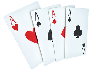 A winning poker hand of four aces playing cards suits on white