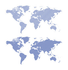 dark blue striped maps of world - vector