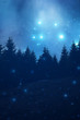 Starry night with forest silhouettes.
