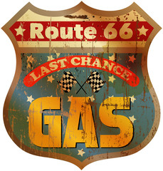 Vintage route 66 gas station sign, vector illustration