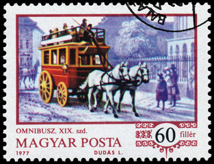 Stamp printed in the Hungary shows horse-drawn omnibus