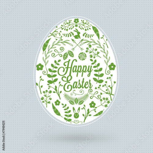 Happy Easter holiday greeting card with floral vector egg