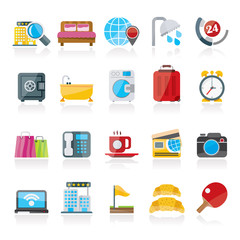 Hotel and motel services icons 1- vector icon set