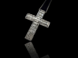 Diamonds Cross necklace on black background