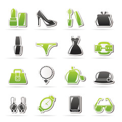 Female Fashion objects and accessories icons
