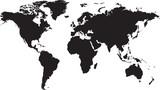 Mapa świata samodzielnie na białym tle