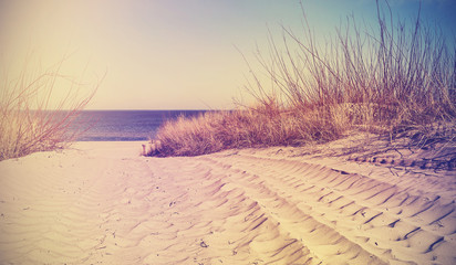 Vintage filtered beach, nature background or banner.