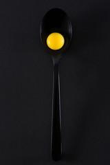 Quail eggs in spoon