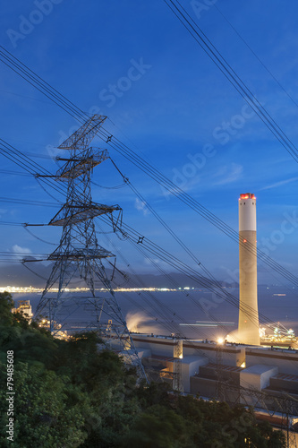 Power plant at dusk - 79485608