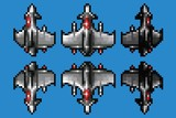 pixel art space ship animation set - 8 bit style vector