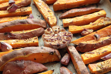 Sweet potato roasted chips just taken from the oven.