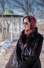 Woman in a Black Fur Coat