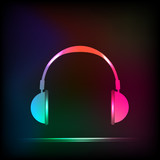 Abstract Light neon Headphones, easy all editable