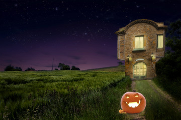 A pumpkin on the road of old medievalhouse  at night
