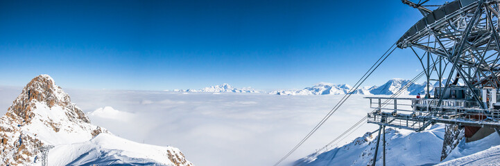 Panoramic view of mountains peaks at Meribel in French Alps.