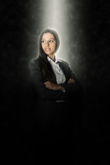 Glowing Young Female Business Executive on Black