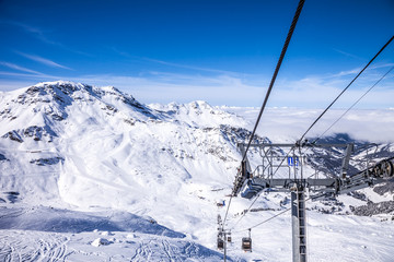Funicular at French Alps in Meribel