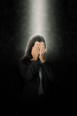 Glowing Head of Office Woman Covering her Face